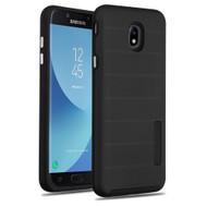 Haptic Dots Texture Anti-Slip Hybrid Armor Case for Samsung Galaxy J7 (2018) - Black