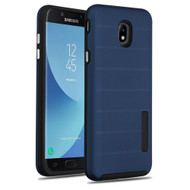 Haptic Dots Texture Anti-Slip Hybrid Armor Case for Samsung Galaxy J7 (2018) - Navy Blue