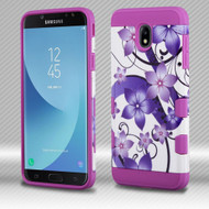 Military Grade Certified TUFF Trooper Dual Layer Hybrid Case for Samsung Galaxy J7 (2018) - Purple Hibiscus Flower Romance
