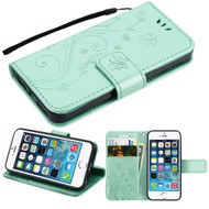 Embossed Butterfly Flower Leather-Style Wallet Stand Case for iPhone SE / 5S / 5 - Teal Green