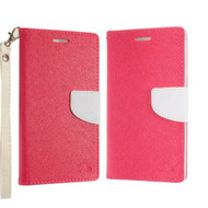 Diary Leather Wallet Stand Case for Samsung Galaxy Note 9 - Hot Pink White