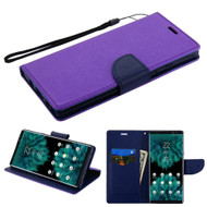 Diary Leather Wallet Stand Case for Samsung Galaxy Note 9 - Purple Navy Blue