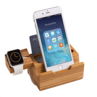 Bamboo Wood Apple Watch and Smartphone Charging Dock with 3 USB Charger Ports