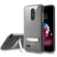 Bumper Shield Clear Transparent TPU Case with Magnetic Kickstand for LG K30 - Grey