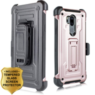 3-IN-1 Rugged Hybrid Kickstand Case with Holster and Tempered Glass Screen Protector for LG G7 ThinQ - Rose Gold