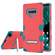 Military Grade Certified TUFF Hybrid Armor Case with Stand for Samsung Galaxy Note 9 - Pink Teal