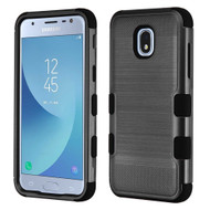 Military Grade Certified Brushed TUFF Hybrid Armor Case for Samsung Galaxy J3 (2018)- Black