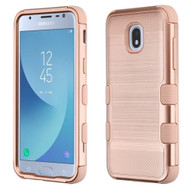 Military Grade Certified Brushed TUFF Hybrid Armor Case for Samsung Galaxy J3 (2018)- Rose Gold 707