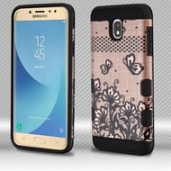Military Grade Certified TUFF Trooper Dual Layer Hybrid Case for Samsung Galaxy J7 (2018) - Lace Flowers Rose Gold