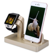 2-IN-1 Powered Dock Stand Charging Station for Apple Watch and iPhone - Gold