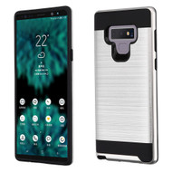 Brushed Coated Hybrid Armor Case for Samsung Galaxy Note 9 - Silver