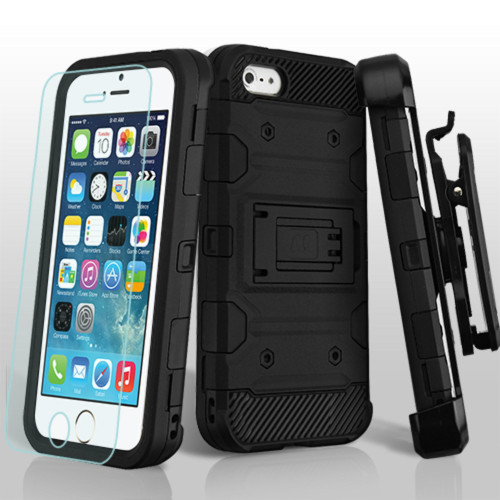 Military Grade Certified Storm Tank Hybrid Case with Holster and Tempered Glass Screen Protector for iPhone SE / 5S / 5 - Black