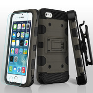 Military Grade Certified Storm Tank Hybrid Case with Holster and Tempered Glass Screen Protector for iPhone SE / 5S / 5 - Grey