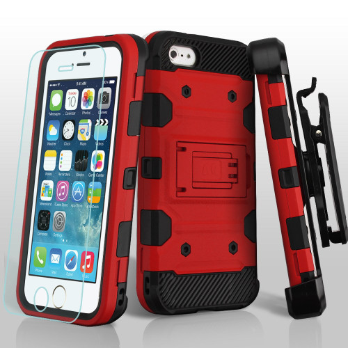 Military Grade Certified Storm Tank Hybrid Case with Holster and Tempered Glass Screen Protector for iPhone SE / 5S / 5 - Red