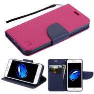 Leather Wallet Shell Case for iPhone 8 / 7 - Hot Pink Navy Blue