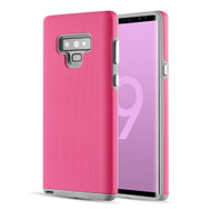 Haptic Football Textured Anti-Slip Hybrid Armor Case for Samsung Galaxy Note 9 - Hot Pink