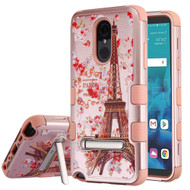 Military Grade Certified TUFF Hybrid Image Armor Case with Stand for LG Stylo 4 - Paris in Full Bloom Rose Gold
