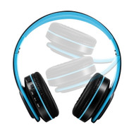 Digital MP3 Foldable Bluetooth V4.2 Wireless On-Ear Headphones with Microphone - Blue