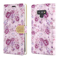 Luxury Bling Portfolio Leather Wallet Case for Samsung Galaxy Note 9 - Fresh Purple Flowers