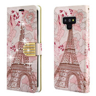 Luxury Bling Portfolio Leather Wallet Case for Samsung Galaxy Note 9 - Eiffel Tower