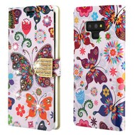 Luxury Bling Portfolio Leather Wallet Case for Samsung Galaxy Note 9 - Butterfly Wonderland