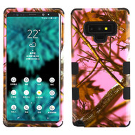 Military Grade Certified TUFF Image Hybrid Armor Case for Samsung Galaxy Note 9 - Pink Oak Hunting Camouflage 026