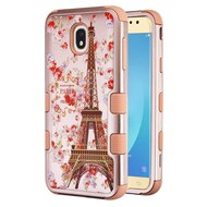 Military Grade Certified TUFF Image Hybrid Armor Case for Samsung Galaxy J7 (2018) - Paris in Full Bloom Rose Gold
