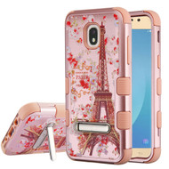 Military Grade Certified TUFF Image Hybrid Armor Case with Stand for Samsung Galaxy J7 (2018) - Paris in Full Bloom Rose Gold
