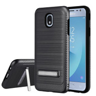 Brushed Multi-Layer Hybrid Armor Case with Kickstand for Samsung Galaxy J3 (2018) - Grey