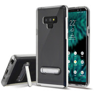 Bumper Shield Clear Transparent TPU Case with Magnetic Kickstand for Samsung Galaxy Note 9 - Silver