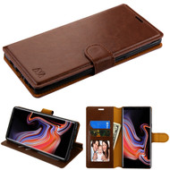 Book-Style Leather Folio Case for Samsung Galaxy Note 9 - Brown