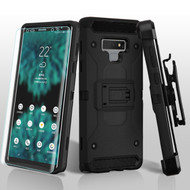 3-IN-1 Kinetic Hybrid Armor Case with Holster and Screen Protector for Samsung Galaxy Note 9 - Black