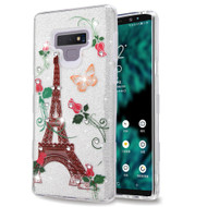 Tuff Full Glitter Diamond Hybrid Protective Case for Samsung Galaxy Note 9 - Paris Monarch Butterflies