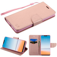 Diary Leather Wallet Stand Case for LG G7 ThinQ - Rose Gold