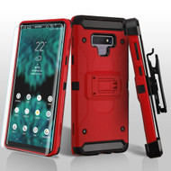3-IN-1 Kinetic Hybrid Armor Case with Holster and Screen Protector for Samsung Galaxy Note 9 - Red