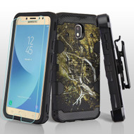 Military Grade Certified Storm Tank Hybrid Case + Holster + Tempered Glass for Samsung Galaxy J7 (2018) - Tree Camouflage