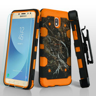 Military Grade Certified Storm Tank Hybrid Case + Holster + Tempered Glass for Samsung Galaxy J7 (2018) - Tree Camouflage Orange