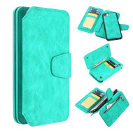 3-IN-1 Luxury Coach Series Leather Wallet with Detachable Magnetic Case for iPhone 8 Plus / 7 Plus / 6S Plus / 6 Plus - Teal Green