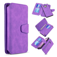 3-IN-1 Luxury Coach Series Leather Wallet with Detachable Magnetic Case for Samsung Galaxy Note 9 - Purple