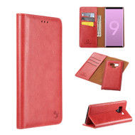 2-IN-1 Luxury Magnetic Leather Wallet Case for Samsung Galaxy Note 9 - Red