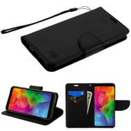 Diary Leather Wallet Stand Case for LG Q7 Plus - Black