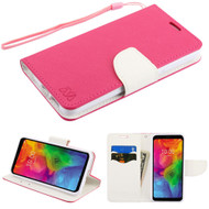 Diary Leather Wallet Stand Case for LG Q7 Plus - Hot Pink White