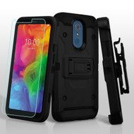 3-IN-1 Kinetic Hybrid Armor Case with Holster and Tempered Glass Screen Protector for LG Q7 Plus - Black