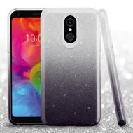 Full Glitter Hybrid Protective Case for LG Q7 Plus - Gradient Black