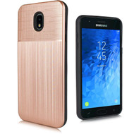 *Sale* Double Texture Anti-Shock Hybrid Protection Case for Samsung Galaxy J7 (2018) / J7 Refine - Rose Gold