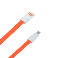 Micro USB Data Sync and Charging Tangle-Free Flat Cable -  4ft. Orange
