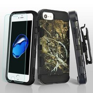 Military Grade Storm Tank Hybrid Case + Holster + Tempered Glass for iPhone 8 / 7 / 6S / 6 - Tree Camouflage