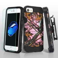 Military Grade Storm Tank Hybrid Case + Holster + Tempered Glass for iPhone 8 / 7 / 6S / 6 - Pink Oak Hunting Camouflage