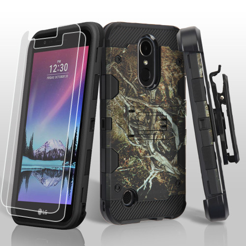 Military Grade Storm Tank Case + Holster + Screen Protector for LG K20 Plus / K20 V / K10 (2017) / Harmony - Tree Camouflage