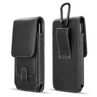 Premium Vertical Leather Pouch Case with Carabiner Clip - Black
